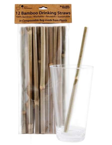 Bambus sugerør 12 stk i pakke