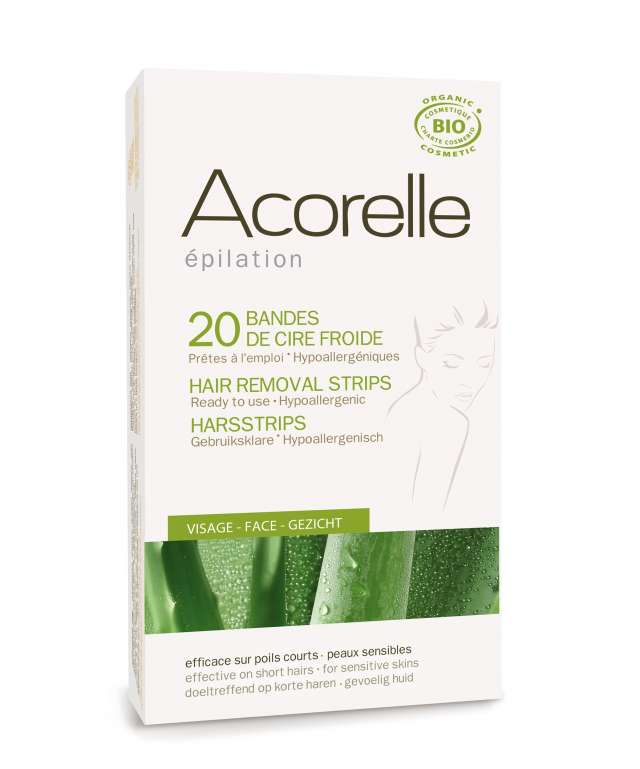 Acorelle Cold Wax Hair Removal Strips for ansikt